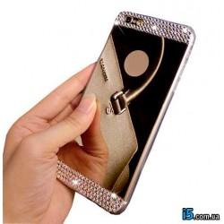 Чехол зеркальный стразы на Iphone 6 plus