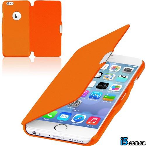 Чехол оранжевый flip на Iphone 6 plus