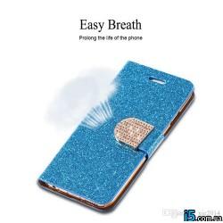 Чехол книжка синий со стразами на Iphone 6/6s