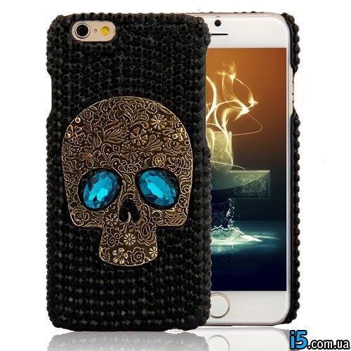 Чехол череп со стразами на Iphone 6/6s
