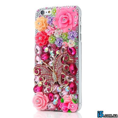 Чехол объемные цветы на Iphone 6 plus