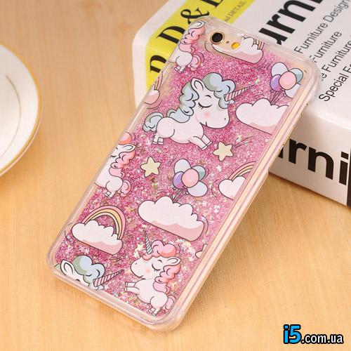 Чехол розовый единорог на Iphone 7 PLUS