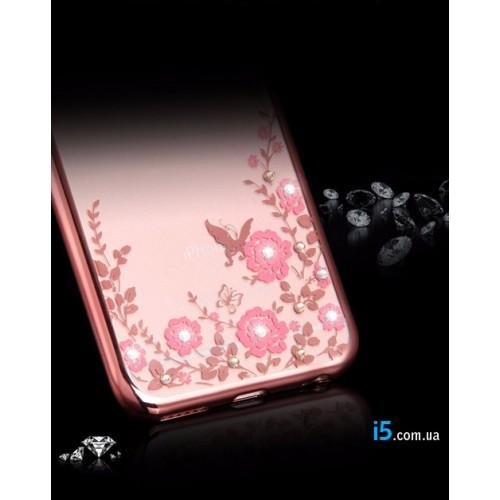Чехол с розовыми стразами на Iphone 8 PLUS