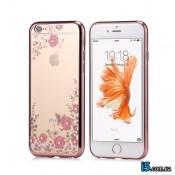 Чехол розовый со стразами на Iphone 8