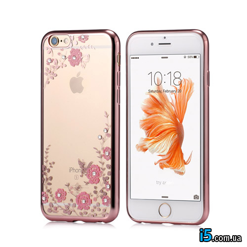 Чехол розовый со стразами на Iphone 8 PLUS