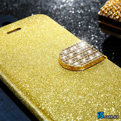 Чехол золотой флип на Iphone 7