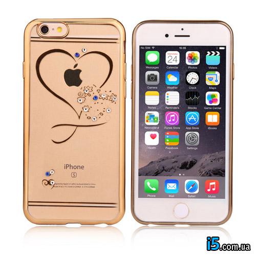 Чехол сердце со стразами на Iphone 7 PLUS