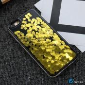 Чехол золотые Сердца жидкость на Iphone 6/6s plus