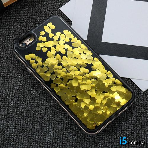 Чехол золотые Сердца жидкость на Iphone 6/6s