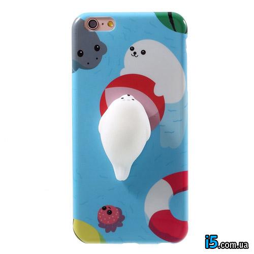 Чехол силиконовый Объемный тюлень на Iphone 8 PLUS