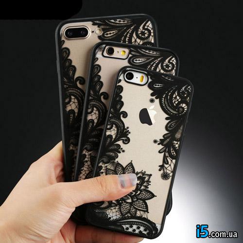 Чехол пластиковый Черное кружево на Iphone 7 PLUS