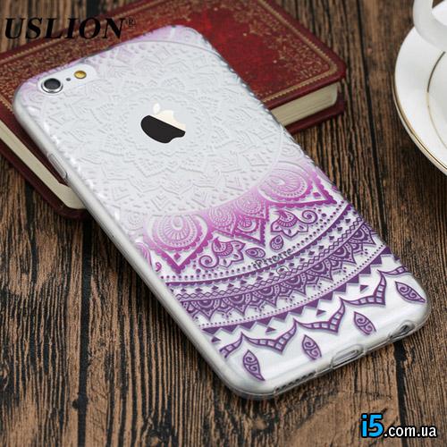 Чехол пластиковый Фиолетовый узор на Iphone 7 PLUS