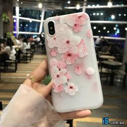 Чехол силиконовый Цветы на Iphone X 10